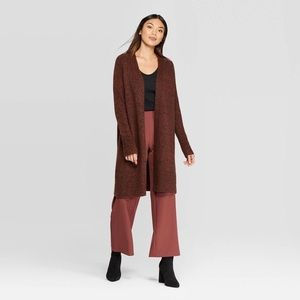 Prologue Long Brown/Red Open Front Cardigan NWT